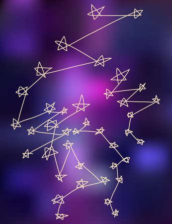 costellazioni: Star costellazioni stilizzare disegno di sfondo illustrazione vettoriale