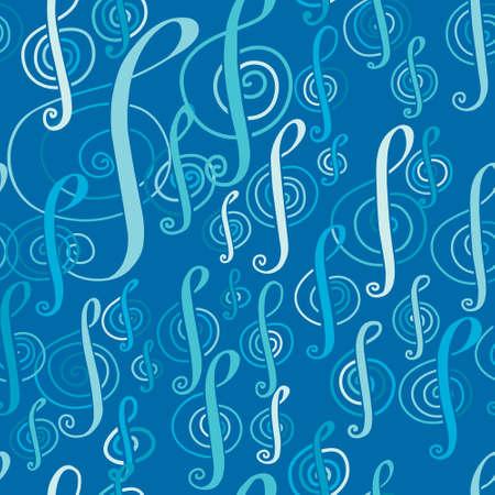music pattern: Seamless music pattern with a treble clef.