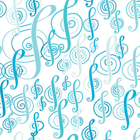 cerulean: Seamless music pattern with a treble clef.