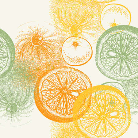 pen and ink: Wallpaper seamless pattern with hand drawn oranges citrus in vector. Drawing of pen, ink and paper. Fruit and food themes Illustration