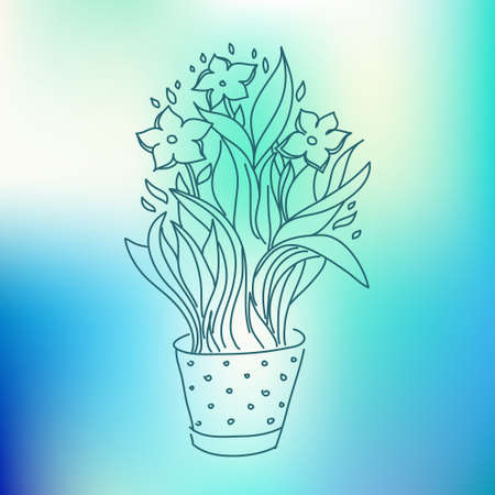 flowerpot: Narcissus in flowerpot sketch drawing on colorful background Illustration