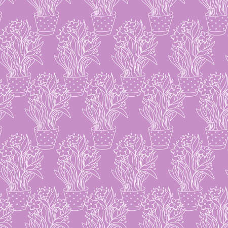 flowerpot: Wallpaper seamless pattern with narcissus in flowerpot made by sketch drawing Illustration
