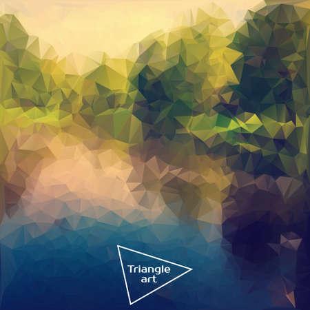 wave tourist: Triangle vector polygon art. Vector illustration of nature. Summer time, travel, journey, adventure Illustration