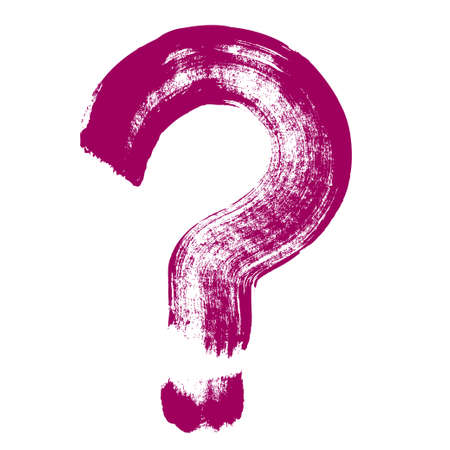 Original hand-painted question symbol. Hand drawn question mark icon, brush drawing