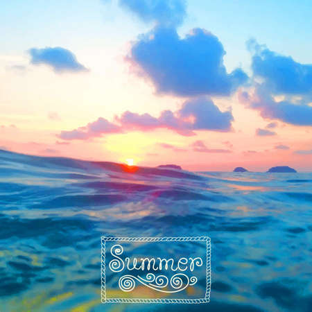 foto: Vector illustration of the sea. Summer time, travel, journey, adventure. Lonely beach Koh Chang island in Thailand. Tracing foto.