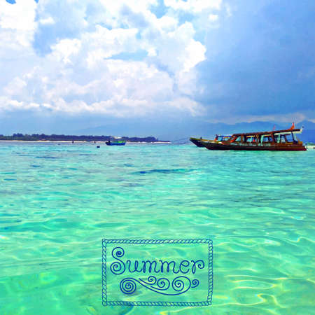 foto: Vector illustration of the sea. Summer time and travelling. Gili Trawangan Islang in Indonesia. Tracing foto