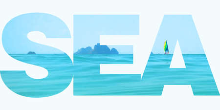 perfect waves: Vector illustration of the sea in letter clipping mask. Summer time and travelling. Koh Chang Lonely beach in Thailand