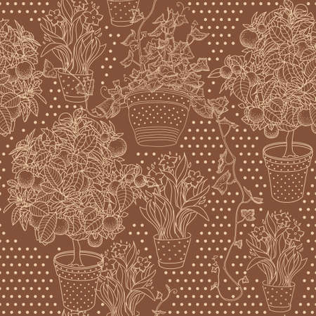 campanula: Garden seamless pattern with three plants in flowerpot: bluebell, narcissus and ivy Illustration
