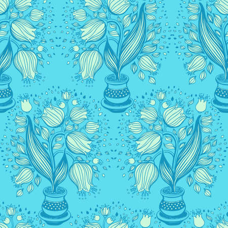 stylize: Seamless pattern with stylize draving of tulips in a pot Illustration
