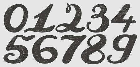 Nummers in te stellen in de hand getekende kalligrafie stijl. Vector design template elementen.