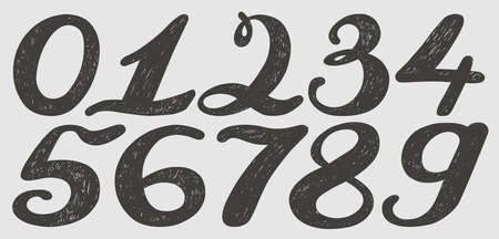 Numbers set in hand drawn calligraphy style. Vector design template elements. Illustration