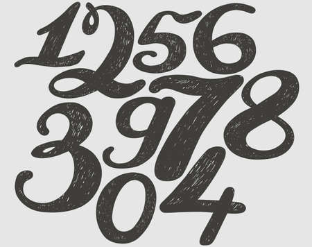 realism: Numbers set in hand drawn calligraphy style. Vector design template elements. Illustration
