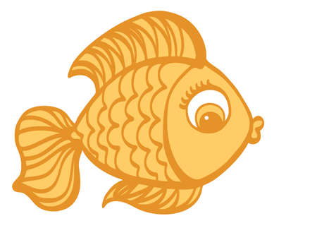 ichthyology: Cartoon cute Goldfish hand drawn vector illustration.