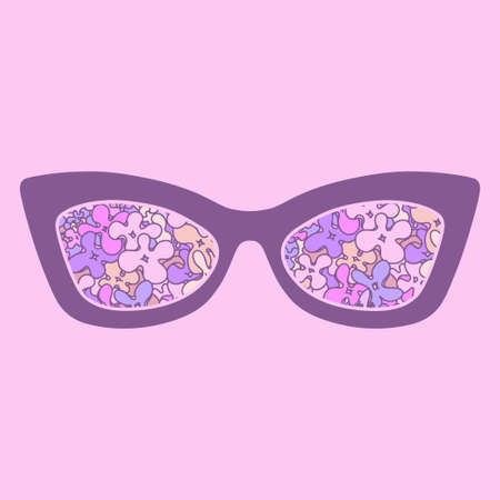 sunglasses reflection: Glamour sunglasses with colorful flowers reflection. Vector illustration Illustration
