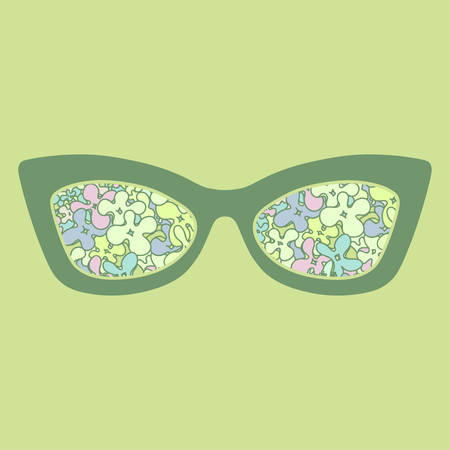 sunglasses reflection: Sunglasses with colorful flowers reflection. Vector illustration.