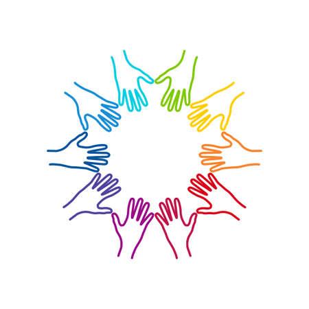 Menschen bunte Hände zusammen vereint. Illustration der Teamarbeit, Solidarität, Freundschaft, Partnerschaft, Kommunikation, vereinigt, Treffen