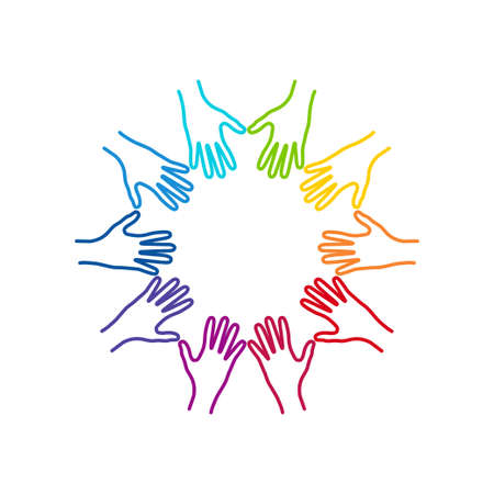 People colorful hands united together. Illustration of teamwork, solidarity, friendship, partnership, communication, united, meeting