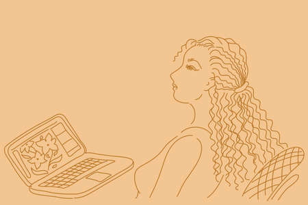 business woman laptop: Pretty business woman working on laptop computer. Hand drawn illustration.