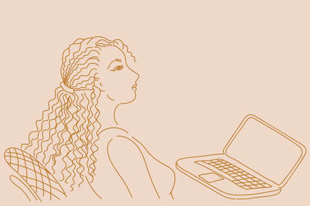 woman laptop: Pretty business woman working on laptop computer. Hand drawn illustration Illustration