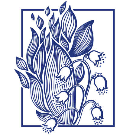 onion valley: Lilies of the valley flower with simple frame. Vintage engrave illustration. Illustration