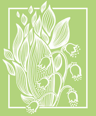 Lilies of the valley flower with simple frame. Vintage engrave illustration. Illustration