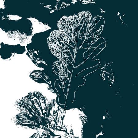 defoliación de otoño en la naturaleza. Follaje de hoja de roble. Fondo de la plantilla de diseño