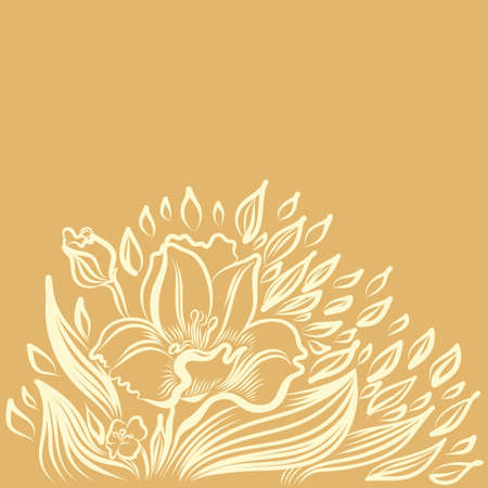 jonquil: Narcissus spring flower drawing. Vector hand drawn illustration.