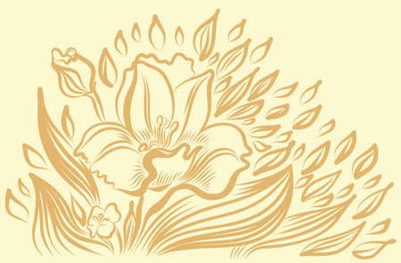 sepal: Narcissus spring flower drawing. Vector hand drawn illustration.