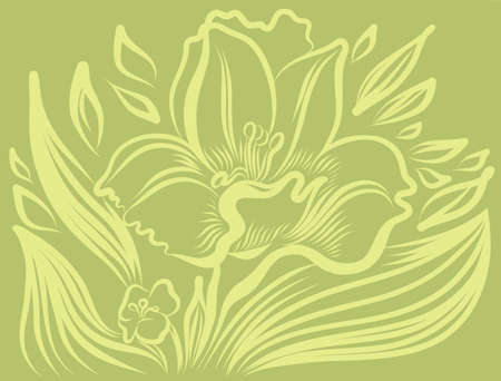 sepals: Narcissus spring flower tattoo drawing. Vector hand drawn illustration.