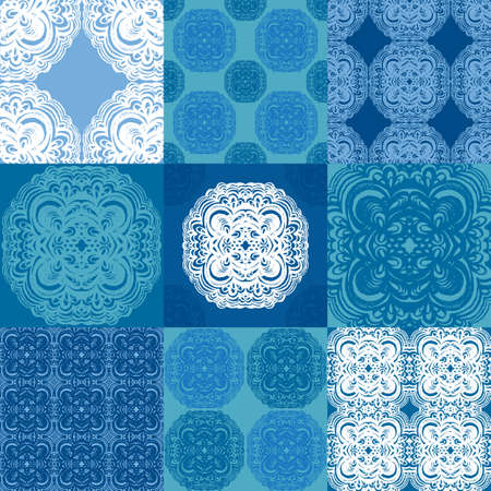 Moroccan tiles ornaments in blue and white colors. Seamless patchwork pattern set. 9 in 1. Can be used for wallpaper, textile and pattern fills, different surfaces, background of web site pages.
