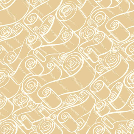 pentateuch: Vintage ribbons and scrolls. Wallpaper seamless pattern. Hand drawn and trace graphic illustrations Illustration