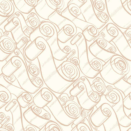Vintage ribbons and scrolls. Wallpaper seamless pattern. Hand drawn and trace graphic illustrations Illustration
