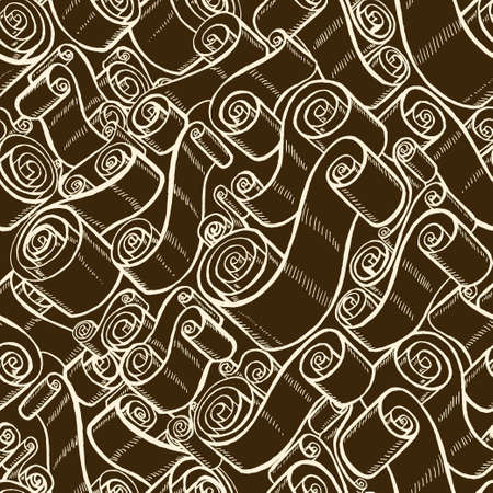 matzoh: Vintage ribbons and scrolls. Wallpaper seamless pattern. Hand drawn and trace graphic illustrations Illustration
