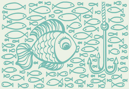 marline: Cartoon drawing illustration of big fish with small fishes background. Fishing process.