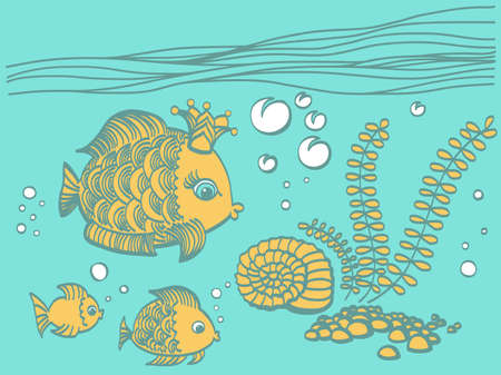 gold fish: Gold fish with a crown in the sea environment. Cartoon drawing illustration