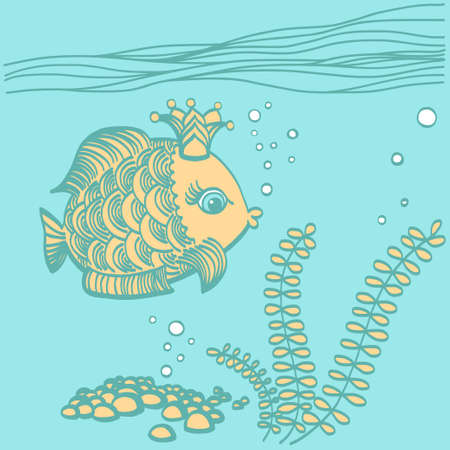 Gold fish with a crown in the sea environment. Cartoon drawing illustration