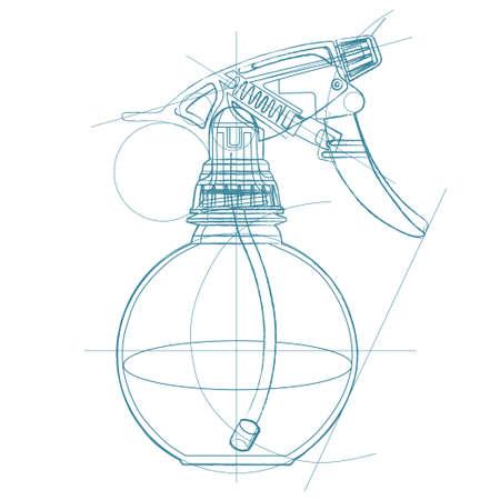 Gatillo de, atomizador, pulverizador, pulverizador, pistola de aire. Vector ilustración de dibujo técnico en el fondo del triángulo poligonal.