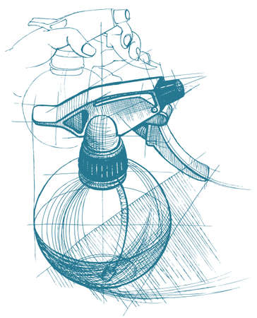 gatillo: Gatillo de, atomizador, pulverizador, pulverizador, pistola de aire. Vector ilustración de dibujo técnico en el fondo del triángulo poligonal.