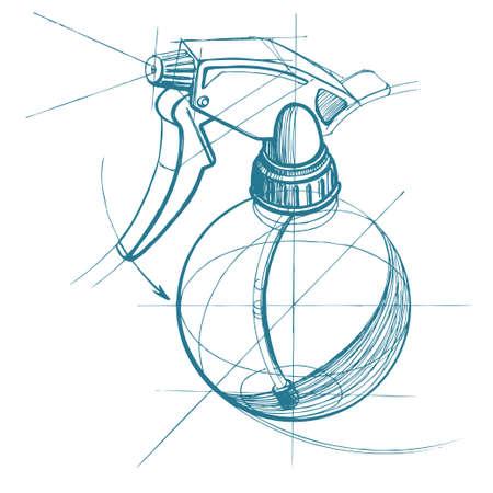 gatillo: Gatillo de, atomizador, pulverizador, pulverizador, pistola de aire. Vector ilustraci�n de dibujo t�cnico en el fondo del tri�ngulo poligonal.
