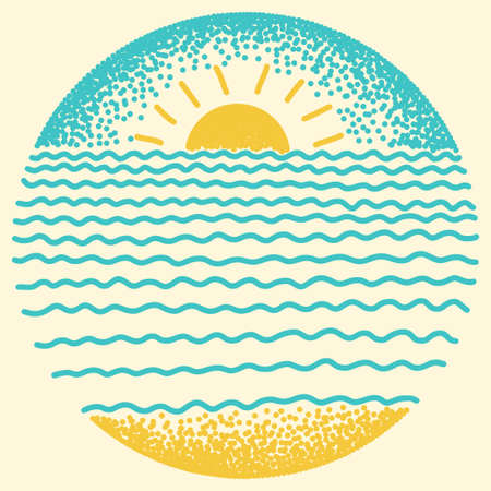 Sea sunset with sun, sea waves and sand. Dots and line modern digital drawing illustration.