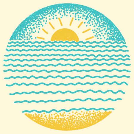 Tramonto sul mare con il sole, le onde del mare e sabbia. Punti e linea moderna illustrazione disegno digitale.