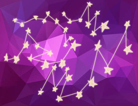 costellazioni: Star costellazioni nell'universo stilizzare disegno con triangolo sfondo poligonale.