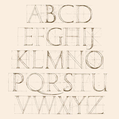 hand pen: Font Antiqua. Hand drawn construction sketch of ABC letters in old fashion vintage style. Illustration