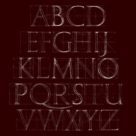 old fashion: Font Antiqua. Hand drawn construction sketch of ABC letters in old fashion vintage style. Illustration