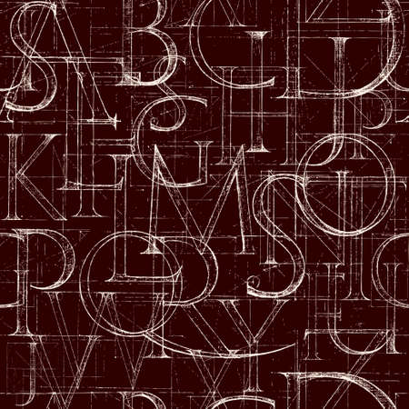 Wallpaper seamless pattern with font Antiqua. Hand drawn construction sketch of ABC letters in old fashion vintage style.