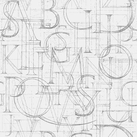 in english: Wallpaper seamless pattern with font Antiqua. Hand drawn construction sketch of ABC letters in old fashion vintage style.