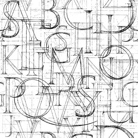 Wallpaper seamless pattern with Modern Roman Classic Alphabet. Method of Geometrical Construction for Large Letters. Hand drawn construction sketch of ABC letters in old fashion vintage style. Vettoriali