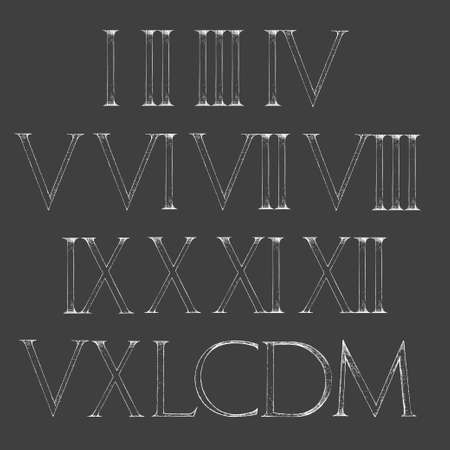bundle of letters: Roman numbers set. Modern Roman Classic number with a Method of Geometrical Construction for Large Letters. Font Latin Greece Antique. Illustration