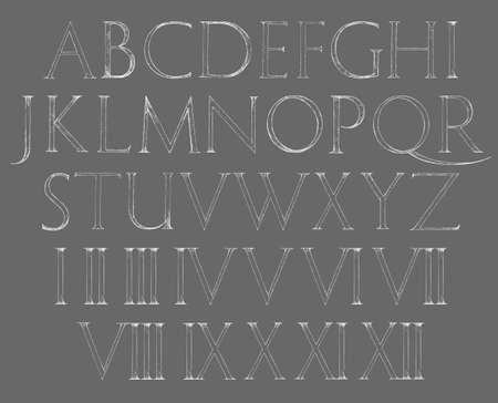 Modern Roman Classic Alphabet with a Method of Geometrical Construction for Large Letters. Numbers included Illustration