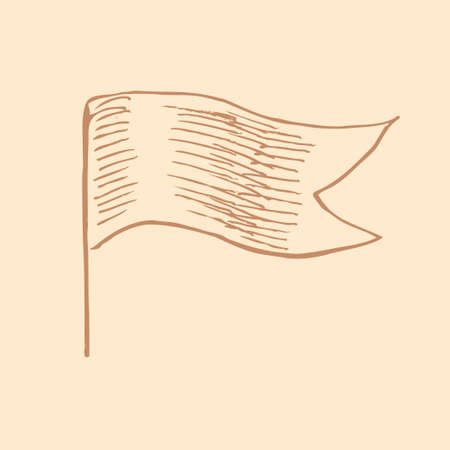 polygraphy: Vector waving flag in vintage engrave style for templates, icons, web, polygraphy. Illustration